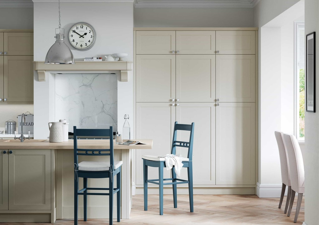 Classic Interiors kitchen island design traditional island painted blue and grey shaker