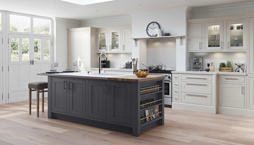 Classic Interiors kitchen island design traditional island painted in frame shaker grey