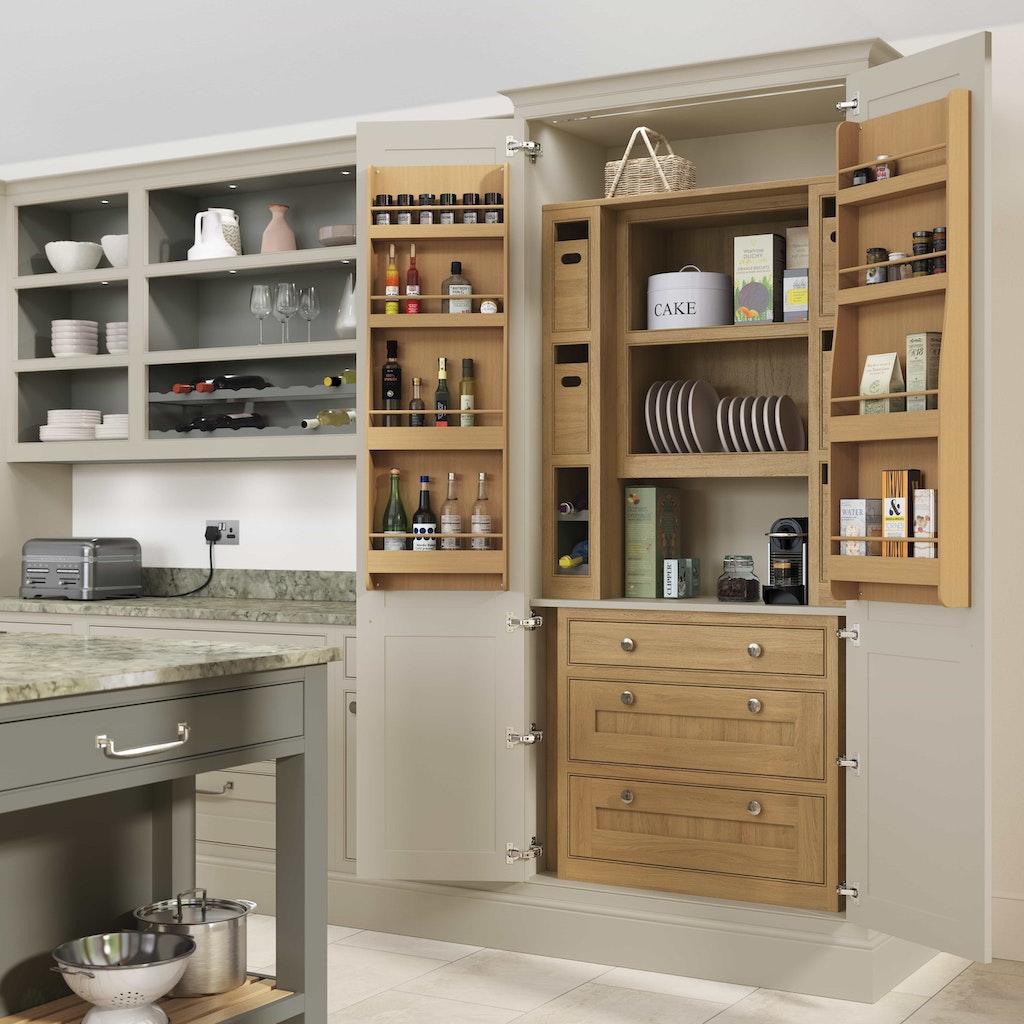 Classic interiors shaker kitchen island with larder cupboard