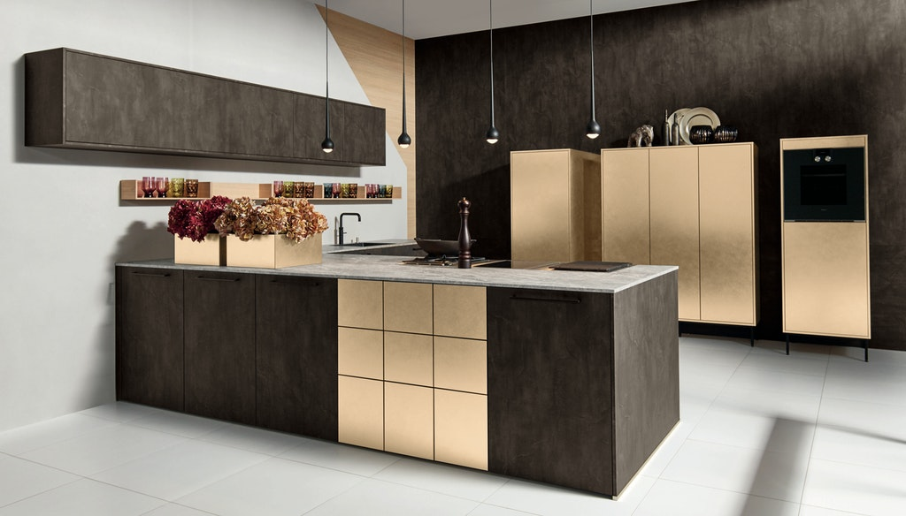 Contemporary gold kitchen with large island