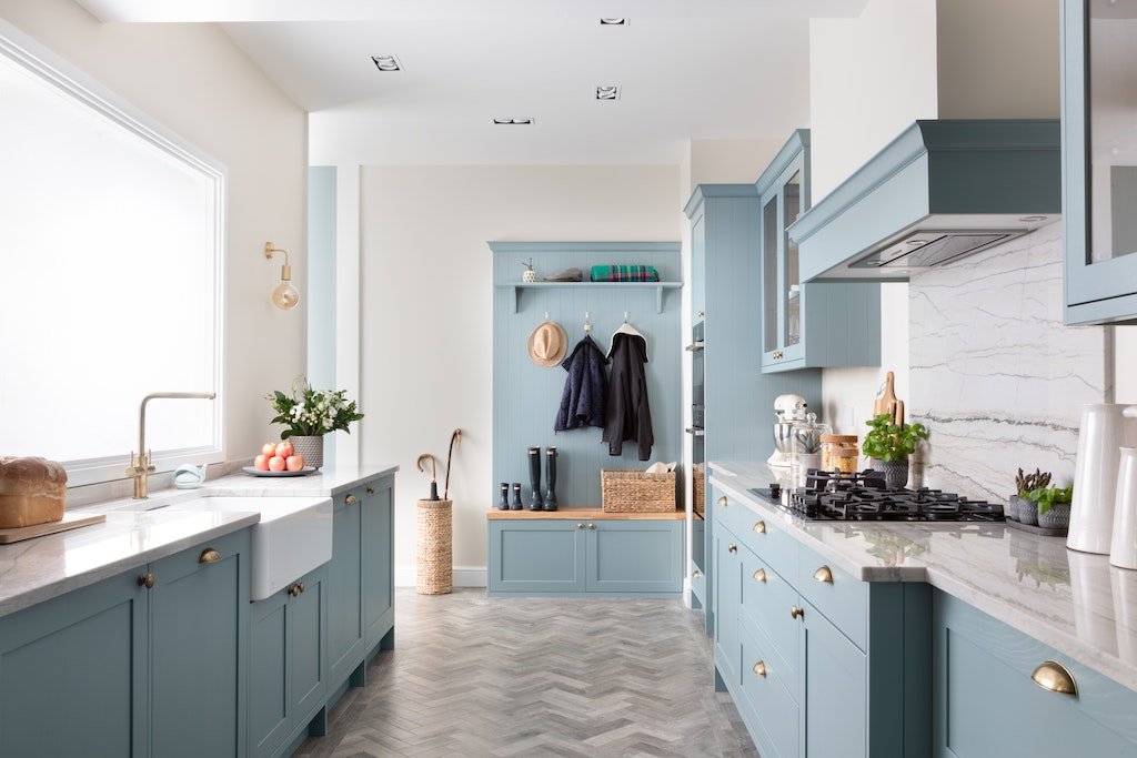 Classic Interiors Shaker style light teal kitchen