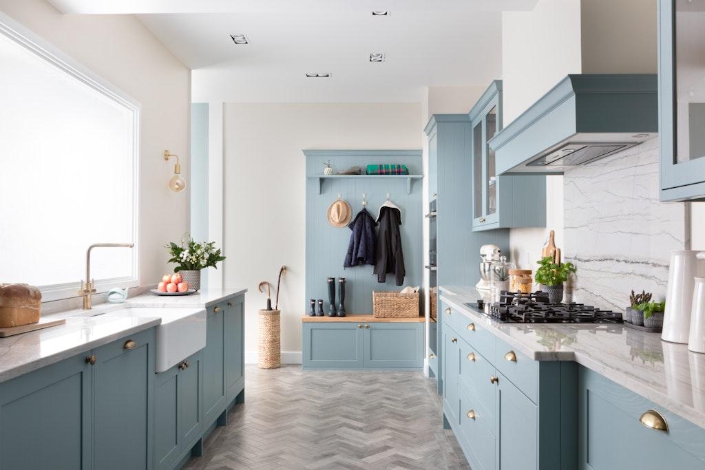 Classic Interiors Shaker style light teal kitchen