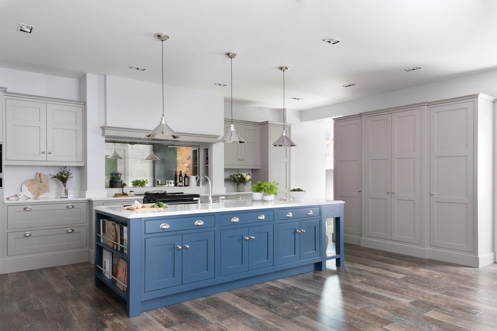 Shaker kitchen with blue, hand-painted island