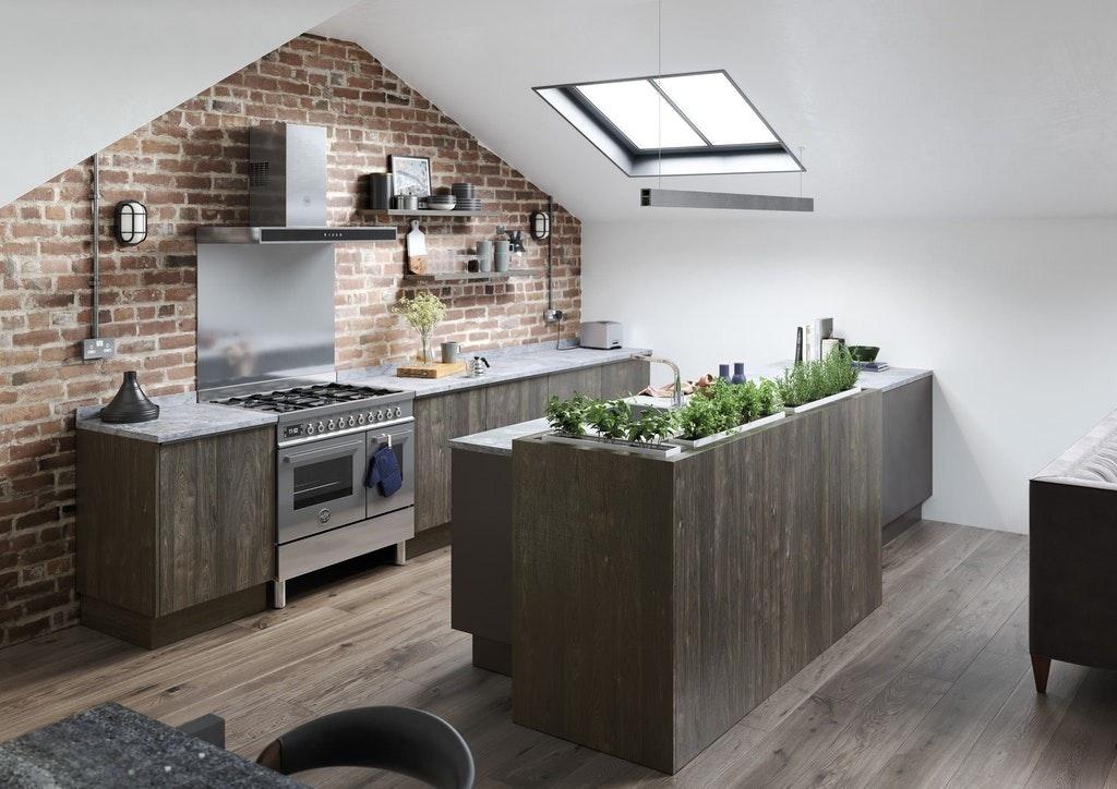 Modern Kitchen With Exposed Brickwork